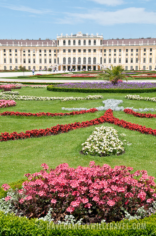 Schonbrunn Palace and gardens on a clear sunny day