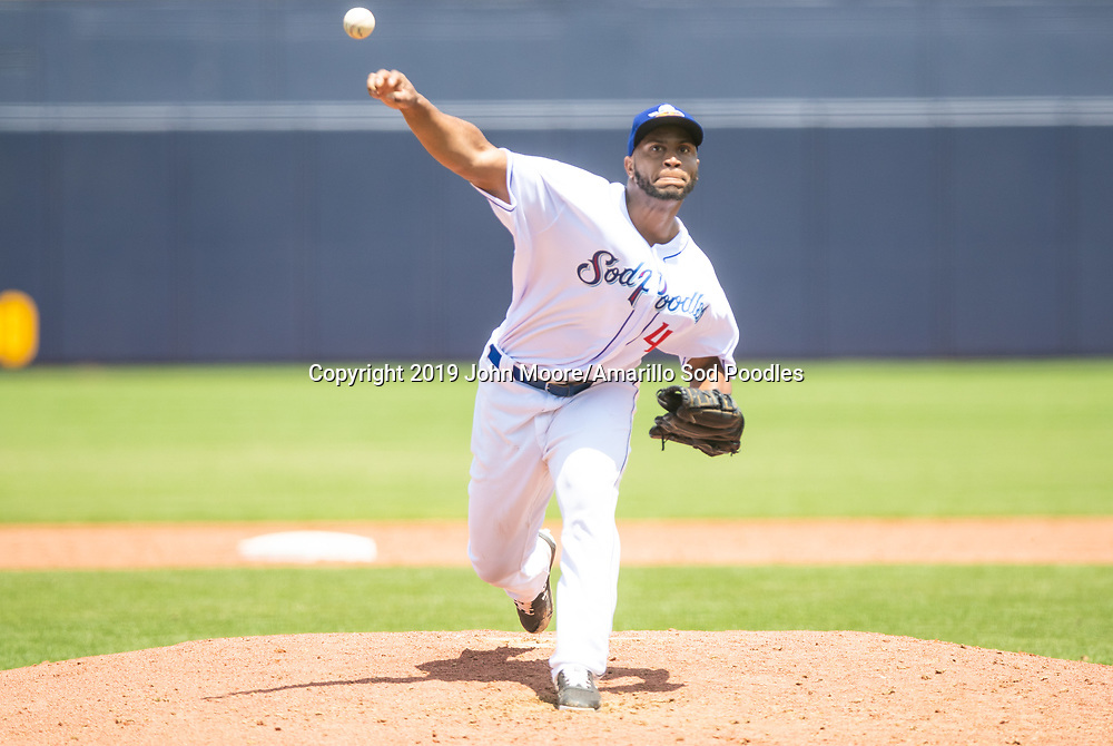 Amarillo Sod Poodles pitcher Miguel Diaz (46) pitches against the Arkansas Travelers on Sunday, May 5, 2019, at HODGETOWN in Amarillo, Texas. [Photo by John Moore/Amarillo Sod Poodles]