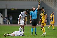 ATHENS, GREECE - OCTOBER 29: is shown a yellow card during the UEFA Europa League Group G stage match between AEK Athens and Leicester City at Athens Olympic Stadium on October 29, 2020 in Athens, Greece. (Photo by MB Media)
