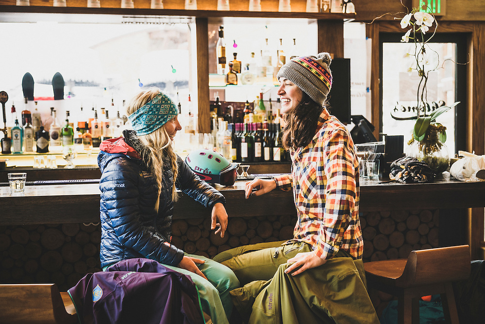 Sammy Podhurst and Janelle Huelsman fuel up at Schlomo's before skiing Aspen Mountain, Colorado.