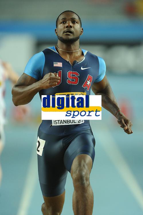 ATHLETICS - WORLD CHAMPIONSHIPS INDOOR 2012 - ISTANBUL (TUR) 09 to 11/03/2012 - PHOTO : STEPHANE KEMPINAIRE / KMSP / DPPI - <br /> 100 M - MEN - ROUND 1 - JUSTIN GATLIN (USA)