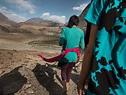 Walking with 3 Pamiri girls from Roshorv village to Nisur village.