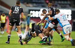 Durban. 140418. Burger Odendaal the Cell C Sharks and  during the Super Rugby match between Cell C Sharks and Vodacom Bulls at Jonsson Kings Park Stadium on April 14, 2018 in Durban, South Africa. Picture Leon Lestrade/African News Agency/ANA