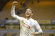 Preston North End striker Joe Garner celebrates win during the Sky Bet Championship match between Wolverhampton Wanderers and Preston North End at Molineux, Wolverhampton, England on 13 February 2016. Photo by Alan Franklin.