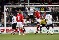 Photo: Mark Stephenson/Sportsbeat Images.<br /> Hereford United v Accrington Stanley. Coca Cola League 2. 24/11/2007.Hereford's Theo Robinson (C) tries a header on goal