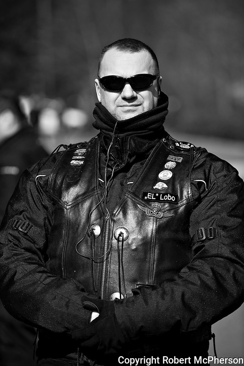 """On image Auto Csaba. Member of the right-wing extremist group Gòj Motorosok in Hungary.<br /> <br /> They are a smaller organization than """"The Hungarian Guard"""" and operate with low profile. However, they have taken over the leadership in one of the theatres in Budapest. They are not associated with any government party in Hungary. On one of the national days in Hungary in March 2012, they had their own """"parade"""" riding their motorbikes around in the city of Budapest. They claimed themselves that they did not do this to get public attention. The photographer got the oppurtunity to meet them over a very short period of time privat."""