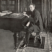 Richard (Georg) Strauss (1864-1949) German composer and conductor, born at Munich. Photograph of Strauss working at the piano published in 1902 when he conducted the first performance in England of his tone poem 'Ein Heldenleben' at the Queen's Hall, London.