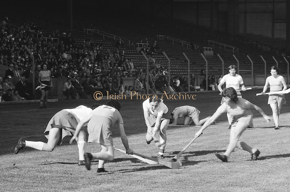 Players bash hurlies together as they all attempt to gain possession during the All Ireland Senior Camogie Final Cork v Wexford in Croke Park on the 21st September 1975. Wexford 4-3 Cork 1-2.