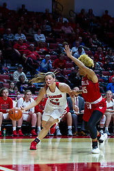 NORMAL, IL - February 07: Paige Saylor turns the baseline corner guarded by Nyjah White during a college women's basketball game between the ISU Redbirds and the Braves of Bradley University February 07 2020 at Redbird Arena in Normal, IL. (Photo by Alan Look)