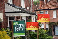 Norwich 2 days before the local elections. 2 May 2017. UK. Labour Party & Green Party signs