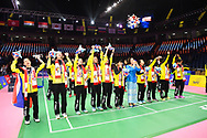 BANGKOK, THAILAND - MAY 26: Team Thailand celebrate on Court 1 with their gold medals after the Medals Presentation at the BWF Total Thomas and Uber Cup Finals 2018, Impact Arena, Bangkok, Thailand on May 26, 2018.<br /> .<br /> .<br /> .<br /> (Photo by: Naratip Golf Srisupab/SEALs Sports Images)<br /> .<br /> Any image use must include a mandatory credit line adjacent to the content which should read: Naratip Golf Srisupab/SEALs Sports Images