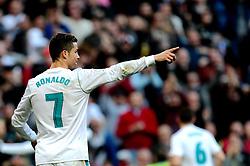 MADRID, Jan. 22, 2018  Real Madrid's Cristiano Ronaldo reacts during a Spanish league match between Real Madrid and Deportivo de la Coruna in Madrid, Spain, on Jan. 21, 2018. Real Madrid won 7-1. (Credit Image: © Juan Carlos/Xinhua via ZUMA Wire)