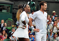 Tennis - 2019 Wimbledon Championships - Week One, Saturday (Day Six)<br /> <br /> Mixed Doubles, 1st Round <br /> Andy Murray (GBR) and Serena Williams (USA) v Andreas Mies (GER) v Alexa Guarachi (CHI)<br /> <br /> Andy Murray (GBR) and Serena Williams (USA)  on Centre Court <br /> <br /> COLORSPORT/ANDREW COWIE