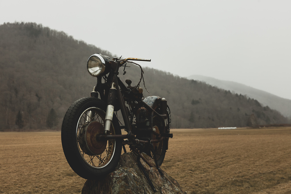 A roadside motorcycle statue on Route 100 in Vermont.