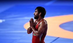 JAKARTA, Aug. 19, 2018  Bajrang Bajrang of India celebrates after winning gold medal of Men's Wrestling Freestyle 65 kg Final against Takatani Daichi of Japan in the 18th Asian Games at Jakarta, Indonesia, Aug. 19, 2018. Bajrang won 11-8. (Credit Image: © Yue Yuewei/Xinhua via ZUMA Wire)