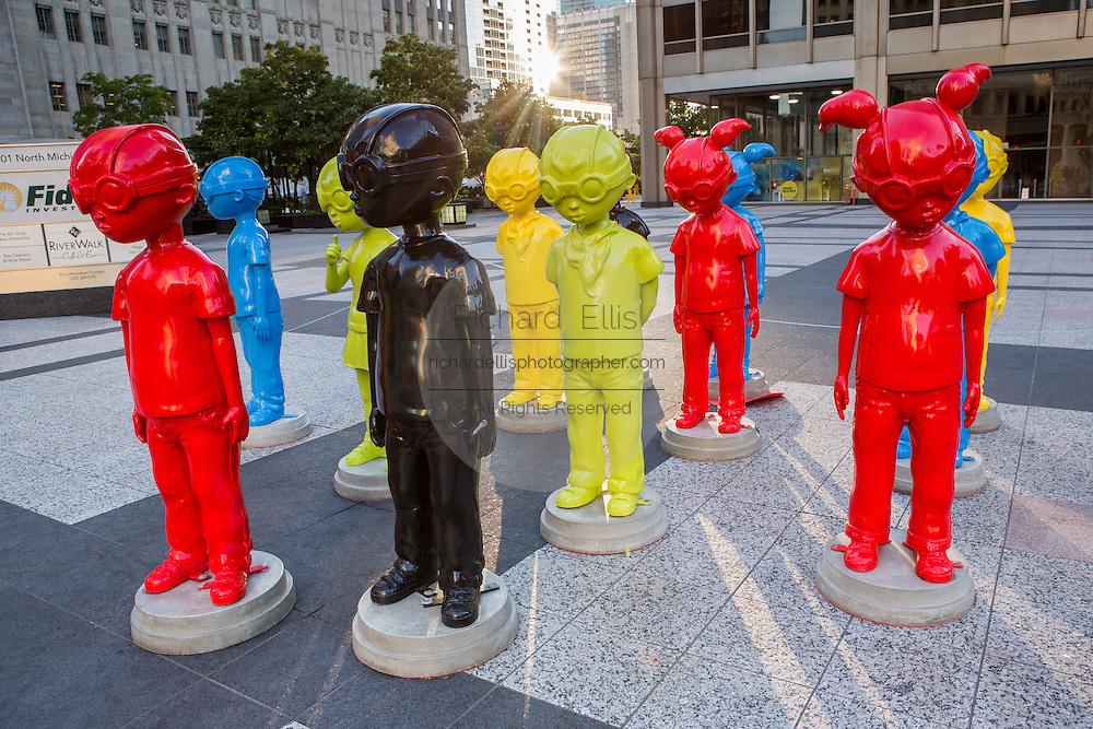 The Watch modern art sculpture by artist Hebru Brantley in Pioneer Court Plaza on Michigan Avenue, Chicago USA