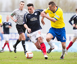 Falkirk's Sean Higgins and Morton's Mark McLaughlin..Falkirk 4 v 1 Morton, 4/5/2013..© Michael Schofield..