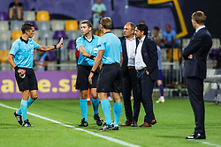 Darko Milanic, head coach of NK Maribor with Zlatko Zahovic during 2nd Leg football match between NK Maribor and Rangers FC in 3rd Qualifying Round of UEFA Europa League 2018/19, on August 16, 2018 in Stadion Ljudski vrt, Maribor, Slovenia. Photo by Grega Valancic / Sportida