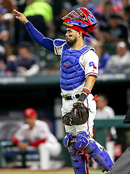 April 23, 2018 - Arlington, TX, U.S. - ARLINGTON, TX - APRIL 23: Texas Rangers catcher Robinson Chirinos calls out signals during the game between the Texas Rangers and the Oakland Athletics on April 23, 2018 at Globe Life Park in Arlington, Texas. (Photo by Steve Nurenberg/Icon Sportswire) (Credit Image: © Steve Nurenberg/Icon SMI via ZUMA Press)