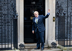 © Licensed to London News Pictures. 13/12/2019. London, UK. Prime Minister Boris Johnson returns to 10 Downing Street after meeting with the Queen at Buckingham Palace. The Conservatives have won a majority in the 2019 General Election. Photo credit: Rob Pinney/LNP
