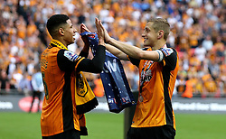 Michael Dawson of Hull City and Curtis Davies of Hull City celebrate winning promotion to The Premier League - Mandatory by-line: Robbie Stephenson/JMP - 28/05/2016 - FOOTBALL - Wembley Stadium - London, England - Hull City v Sheffield Wednesday - Sky Bet Championship Play-off Final