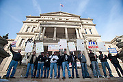 """Firefighers gather during a protest against Emergency Financial Manager legislation at the Michigan State Capital in Lansing, MI, Tuesday, March 8, 2011. According to the law, which has already been approved in the House, the governor will be able to declare """"financial emergency"""" in towns or school districts and appoint someone to fire local elected officials, break contracts, seize and sell assets, and eliminate services. Under the law whole cities or school districts could be eliminated without any public participation or oversight. (Jeffrey Sauger)"""