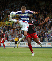 Photo: Tony Oudot.<br /> Queens Park Rangers v Stoke City. Coca Cola Championship. 06/05/2007.<br /> Jimmy Smith of Queens Park Rangers beats Vincent Pericard of Stoke City to the ball