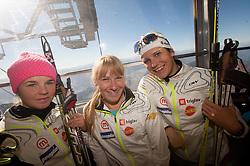Alenka Cebasek, Nika Razinger and Katja Visnar during Training camp of Slovenian Cross country Ski team on October 23, 2012 in Dachstein Getscher, Austria. (Photo By Vid Ponikvar / Sportida)