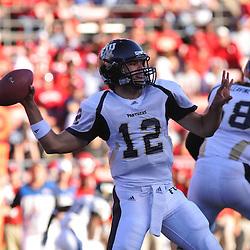 Sep 19, 2009; Piscataway, NJ, USA; Florida International quarterback Paul McCall (12) makes a pass during the first half of NCAA college football between Rutgers and Florida International at Rutgers Stadium.