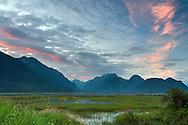 Sunset at the Pitt-Addington Marsh Wildlife Management Area on the shore of the Pitt River in Pitt Meadows, British Columbia, Canada