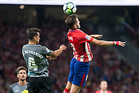 Atletico de Madrid's Saul Niguez and Malaga's Luis Hernandez during La Liga match between Atletico de Madrid and Malaga CF at Wanda Metropolitano in Madrid, Spain September 16, 2017. (ALTERPHOTOS/Borja B.Hojas)