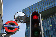 The London Underground subway logo at Southwark Station and the headquarters for Transport for London TFL in Palestra House, 197 Blackfriars Road, London, SE1, on 6th September, in London, England.