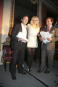 THE WINNER OF THE PRIZE: IAIN HOLLINGSHEAD (FOR PASSAGES IN  HIS BOOK TWENTY SOMETHING) COURTNEY LOVE AND ALEXANDER WAUGH. Literary Review's Bad Sex In Fiction Prize.  In & Out Club (The Naval & Military Club), 4 St James's Square, London, SW1, 29 November 2006. <br />