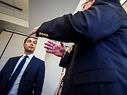 15 APRIL 2019 - DES MOINES, IOWA: JULIÁN CASTRO (center) talks to CHUCK GASSMAN, from Bell Brothers Heating and Cooling, during Castro's visit the Central Campus Skilled Trades Alliance at the Des Moines Public School's Central Campus Monday. Castro is on his third visit to Iowa since declaring his candidacy for the Democratic ticket of the US Presidency. Casto talked to students and administrators about skilled trades education and toured the campus. Iowa traditionally hosts the the first selection event of the presidential election cycle. The Iowa Caucuses will be on Feb. 3, 2020.                  PHOTO BY JACK KURTZ