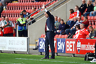 Crewe Alexandra Manager Steve Davis waves as the crowd sing his name. Skybet football league one match, Crewe Alexandra v Port Vale at the Alexandra Stadium in Crewe on Saturday 13th Sept 2014.<br /> pic by Chris Stading, Andrew Orchard sports photography.