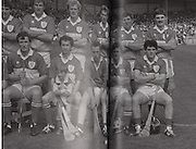 Offaly-All-Ireland Hurling Championship 1985..Back Row: Pat Fleury (capt), Joachim Kelly, Tom Conneely, Eugene Coughlan, Pat Delaney, Joe Dooley, Padraig Horan, Aidan Fogarty. Front Row: Danny Owens, Brendan Bermingham, Pat Cleary, Ger Coughlan, Jim Troy, Mark Corrigan, Paddy Corrigan.