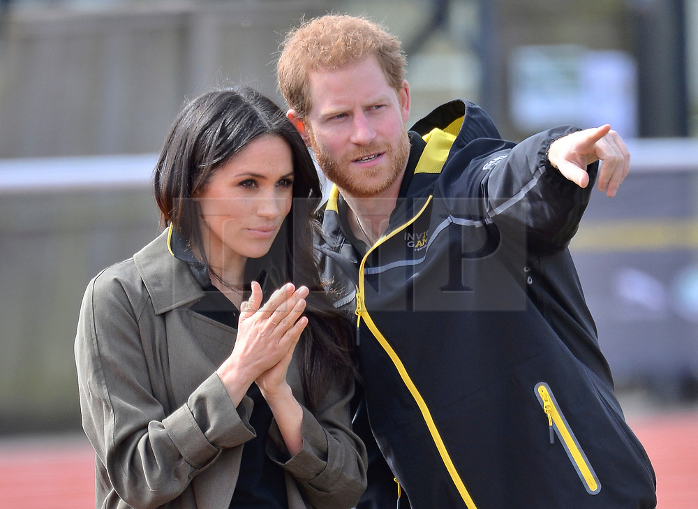 © Licensed to London News Pictures. 06/04/2018. London, UK. HRH PRINCE HARRY and fiance MEGHAN MARKLE attend the UK team trials for the Invictus Games Sydney 2018.The trials are held at the University of Bath Sports Training Village. Photo credit: Ray Tang/LNP