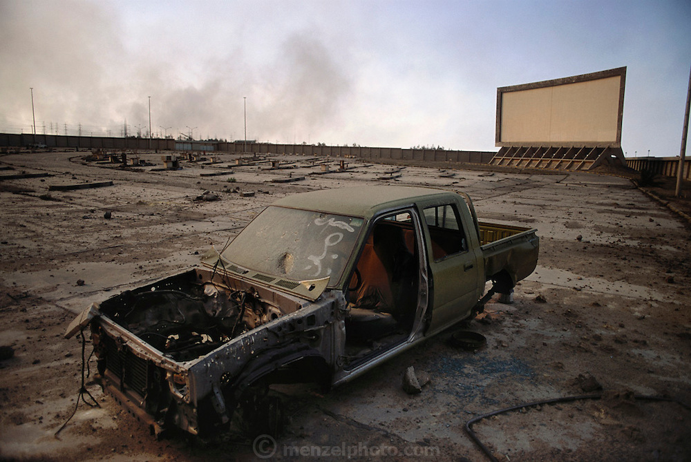 Drive-in movie theater Kuwait City after the end of the Gulf War in 1991. More than 700 wells were set ablaze by retreating Iraqi troops creating the largest man-made environmental disaster in history.
