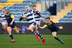 Joe Gatus of Yorkshire Carnegie Under 18s goes past Tom Williams (Bromsgrove School) of Worcester Warriors Under 18s - Mandatory by-line: Robbie Stephenson/JMP - 14/01/2018 - RUGBY - Sixways Stadium - Worcester, England - Worcester Warriors Under 18s v Yorkshire Carnegie Under 18s - Premiership Rugby U18 Academy