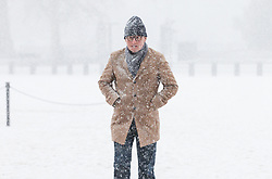 © Licensed to London News Pictures. 27/02/2018. London, UK. A man braves heavy snow on Horse Guards Parade in central London. Severe cold, blizzards and heavy snow are expected for the rest of the week as the 'Beast from the East' brings freezing Siberian air to the UK. Photo credit: Rob Pinney/LNP