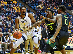 Jan 21, 2019; Morgantown, WV, USA; West Virginia Mountaineers forward Derek Culver (1) drives baseline during the second half against the Baylor Bears at WVU Coliseum. Mandatory Credit: Ben Queen-USA TODAY Sports