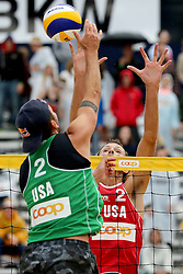 12.07.2014, Beach Village, Gstaad, SUI, FIVB Beach Volleyball Grand Slam Gstaad, im Bild Sean Rosenthal (USA) gegen Ryan Doherty (USA) // during the FIVB Beach Volleyball Grand Slam Gstaad at the Beach Village in Gstaad, Switzerland on 2014/07/12. EXPA Pictures © 2014, PhotoCredit: EXPA/ Freshfocus/ Claude Diderich<br /> <br /> *****ATTENTION - for AUT, SLO, CRO, SRB, BIH, MAZ only*****