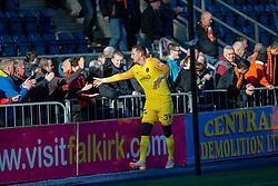 Dundee United's keeper Matej Rakovan at the end.  Dundee United's players with fans at the end. Falkirk 0 v 2 Dundee United, Scottish Championship game played 22/9/2018 at The Falkirk Stadium.