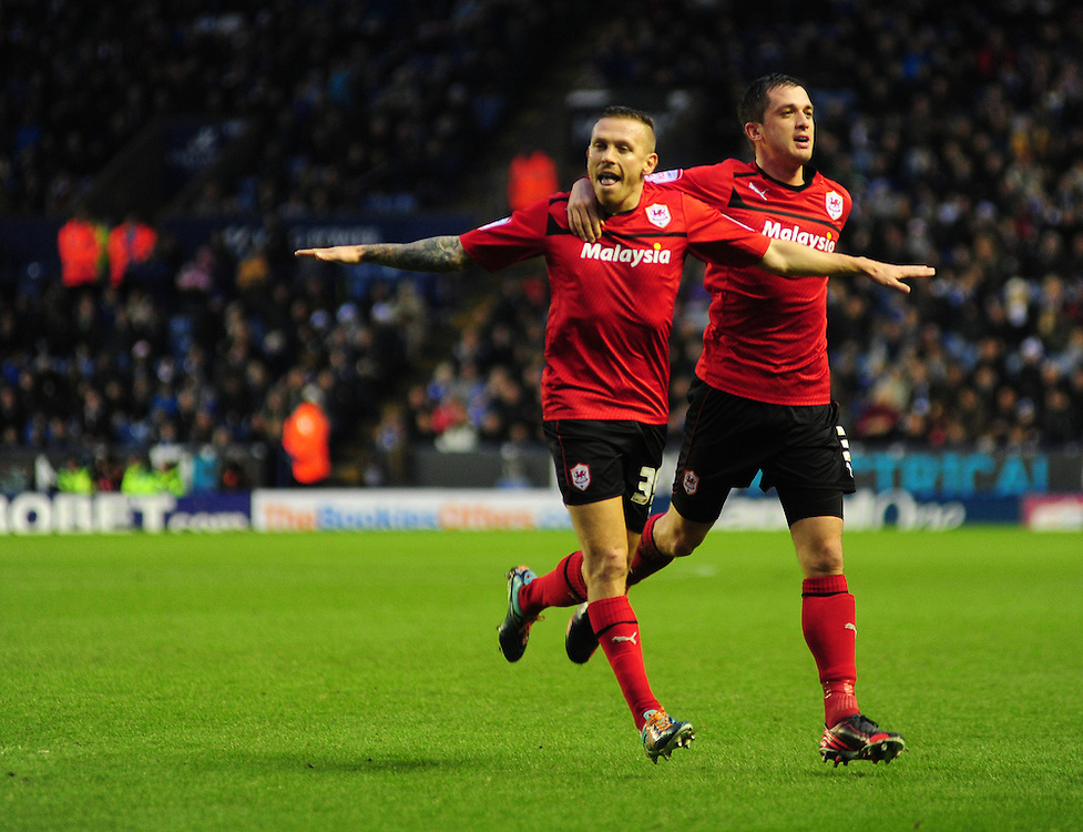 Cardiff City's Craig Bellamy, left, celebrates scoring his sides first goal with team-mate Andrew Taylor ..Football - npower Football League Championship - Leicester City v Cardiff City - Saturday 22nd December 2012 - The King Power Stadium - Leicester..© CameraSport - 43 Linden Ave. Countesthorpe. Leicester. England. LE8 5PG - Tel: +44 (0) 116 277 4147 - admin@camerasport.com - www.camerasport.com