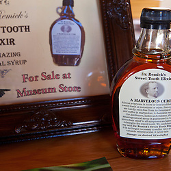 Maple syrup in a Dr. Remick's Sweet Tooth Elixir bottle at the Remick Farm in Tamworth, New Hampshire.