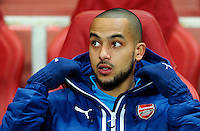 Arsenal's Theo Walcott on the bench for the Monaco game<br /> <br /> Photographer Ashley Western/CameraSport<br /> <br /> Football - UEFA Champions League Second Round 1st Leg - Arsenal v Monaco - Wednesday 25th February 2015 - Emirates Stadium - London<br /> <br /> © CameraSport - 43 Linden Ave. Countesthorpe. Leicester. England. LE8 5PG - Tel: +44 (0) 116 277 4147 - admin@camerasport.com - www.camerasport.com