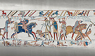 Bayeux Tapestry scene 57: King Harold is killed by an arrow in his eye as he looses the Battle of Hastings. .<br /> <br /> If you prefer you can also buy from our ALAMY PHOTO LIBRARY  Collection visit : https://www.alamy.com/portfolio/paul-williams-funkystock/bayeux-tapestry-medieval-art.html  if you know the scene number you want enter BXY followed bt the scene no into the SEARCH WITHIN GALLERY box  i.e BYX 22 for scene 22)<br /> <br />  Visit our MEDIEVAL ART PHOTO COLLECTIONS for more   photos  to download or buy as prints https://funkystock.photoshelter.com/gallery-collection/Medieval-Middle-Ages-Art-Artefacts-Antiquities-Pictures-Images-of/C0000YpKXiAHnG2k