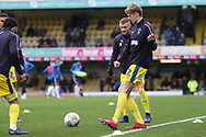 AFC Wimbledon Jack Rudoni (42) warming up, during the EFL Sky Bet League 1 match between Southend United and AFC Wimbledon at Roots Hall, Southend, England on 16 March 2019.