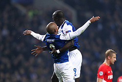 December 6, 2017 - Porto, Porto, Portugal - Porto's Algerian forward Yacine Brahimi (L) celebrates after scoring a goal with Porto's Cameroonian forward Vincent Aboubakar (R) during the UEFA Champions League Group G match between FC Porto and AS Monaco FC at Dragao Stadium on December 6, 2017 in Porto, Portugal. (Credit Image: © Dpi/NurPhoto via ZUMA Press)