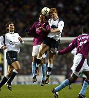 Fotball: Liverpool John Arne Riise and Aston Villa Paul Merson during the Premiership match at Villa Park, Brimingham. Wednesday December 26, 2001.<br /><br />Foto: David Rawcliffe, Digitalsport